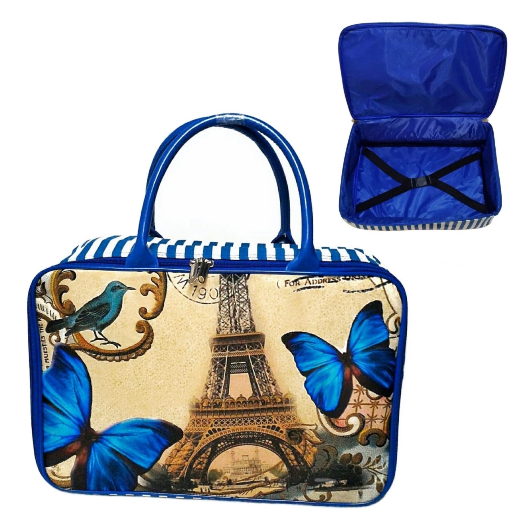 AMT Travel Bag Kanvas Paris Kupu Biru Jumbo dengan Karet Pengikat Baju