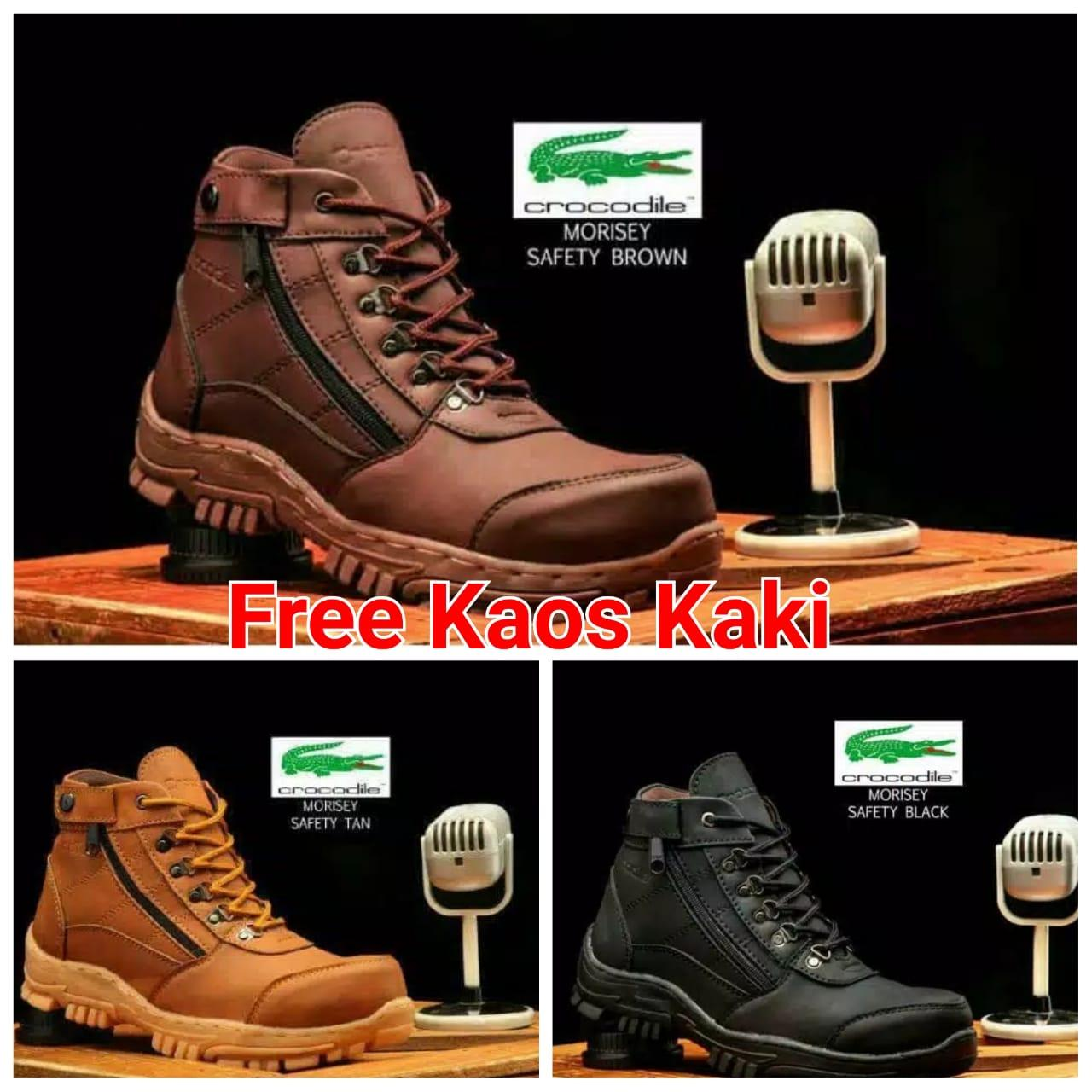 Sepatu Safety Boots Pria Army Delta Tactical project kerja lapangan Touring Crocodile Morisey Brown Black Tan Safety Boots Shoes