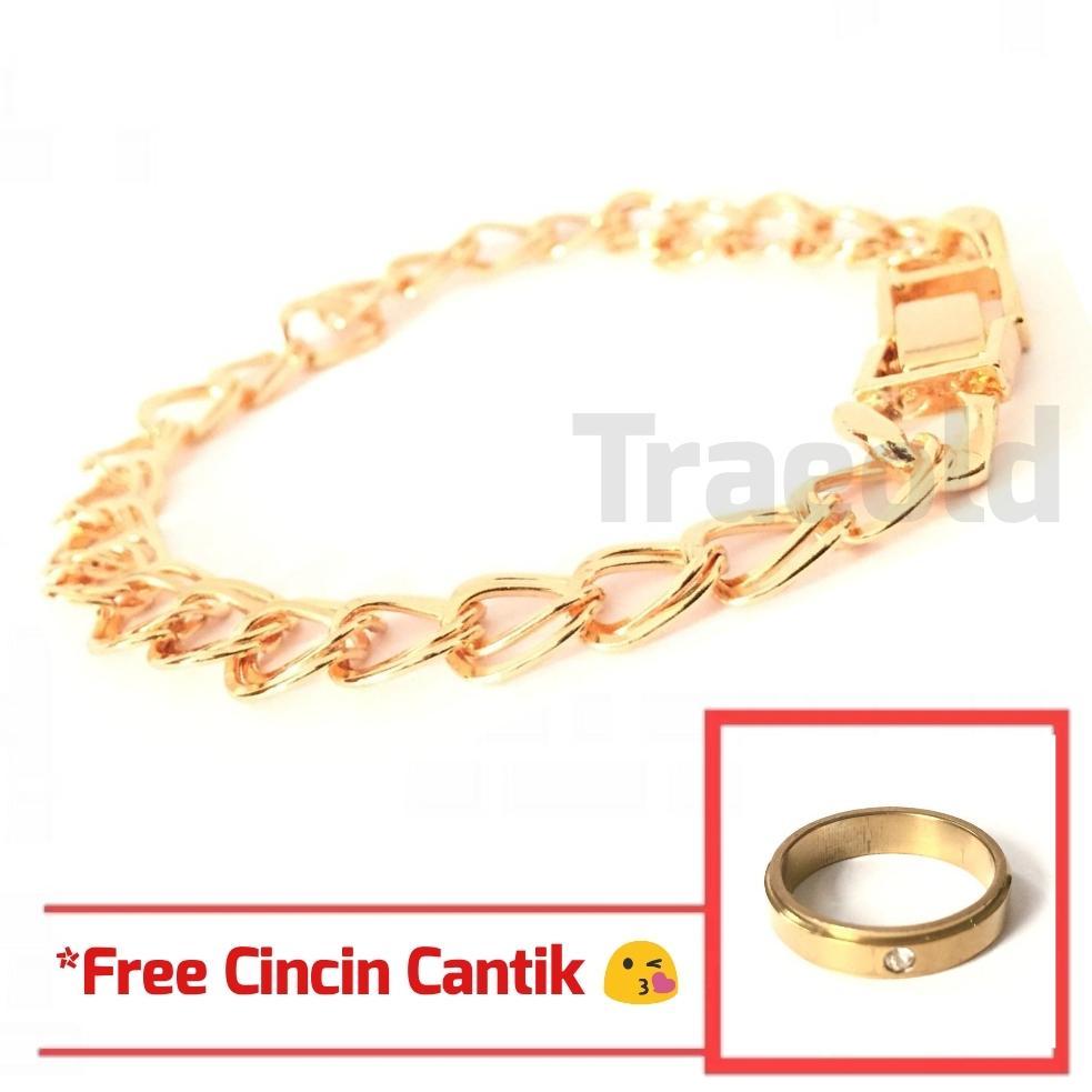 Gelang Xuping Perhiasan Wanita Mewah Blingbling Polos - Xuping Gold *Free Cincin