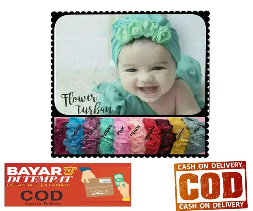 Turban Flower Motif Bunga Baby / Kids / Kid /anak / Bayi Turban Hijab By Liashop.id.
