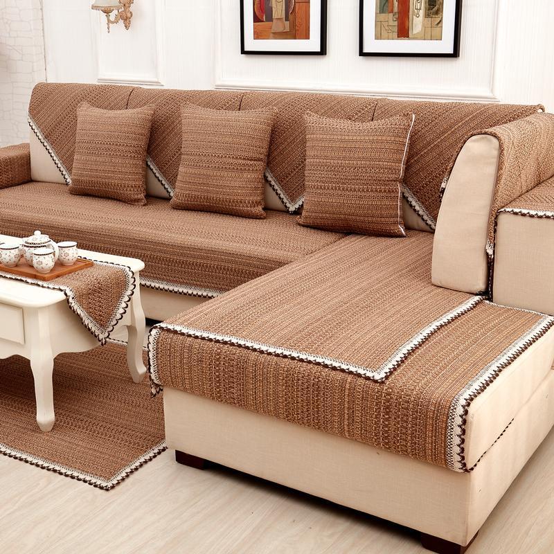 Katun rami bantal sofa Kain Anti Selip bantal duduk Bisa Dipakai Empat Musim tutup penuh sofa