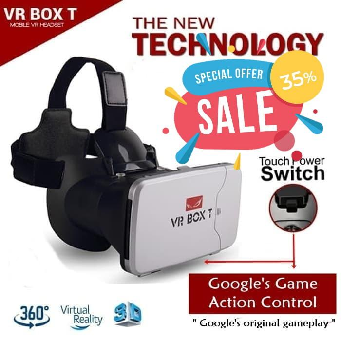 VR Box T 3D VR Cardboard 2 with Capacitive Touch Button Virtual Reality Glasses - Putih