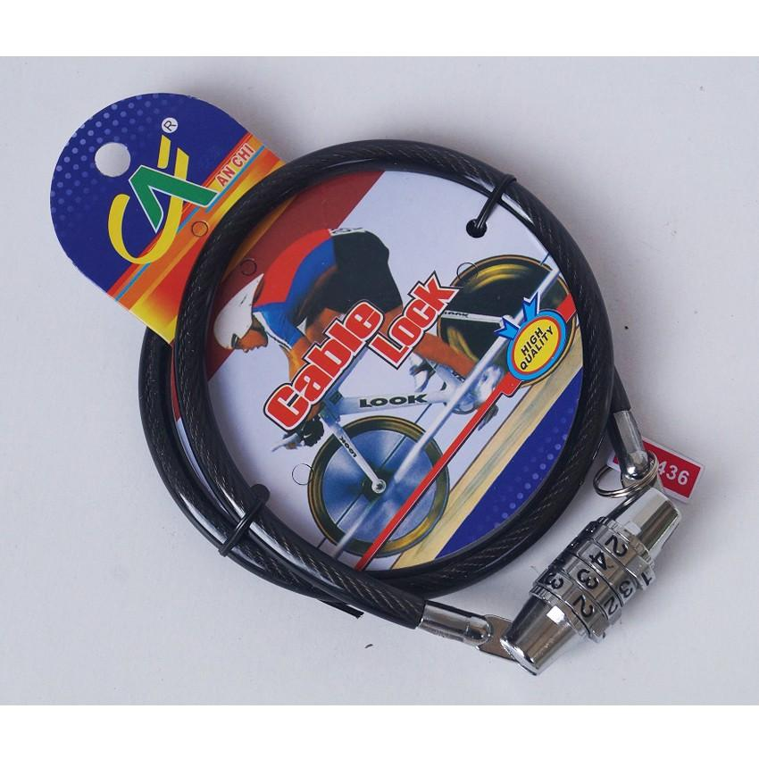 Cable Lock Code WARNA HITAM - Gembok Kabel - Gembok Helm - Gembok Sepeda - Kunci Helm - Kunci Sepeda - Menggunakan KODE Kunci/ PIN Berkualitas