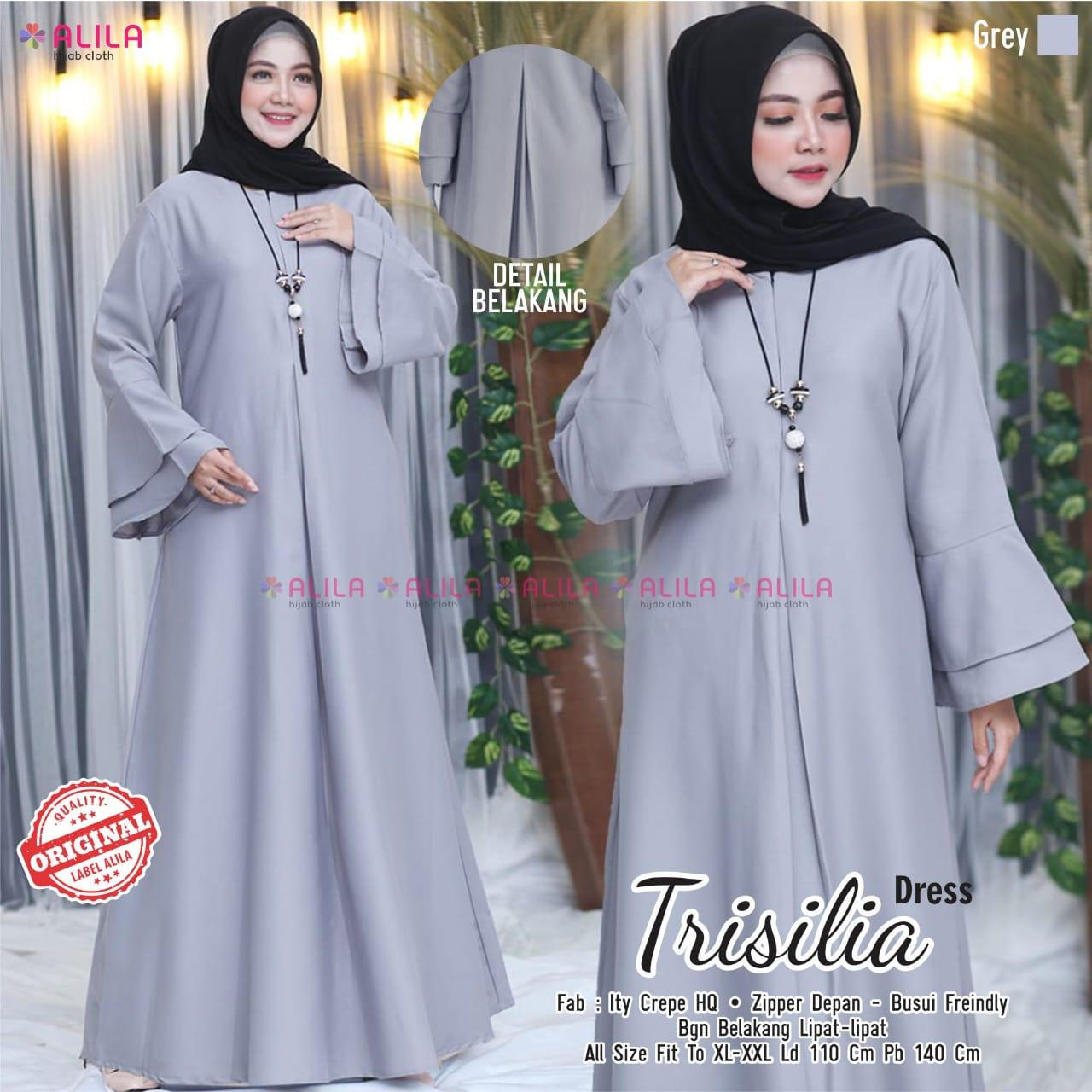 Trisilia Dress Ity Crepe HQ  Baju muslim syari terbaru 11 toko baju  muslim di solomodel long dress untuk orang gemuk model kebaya dress  panjang