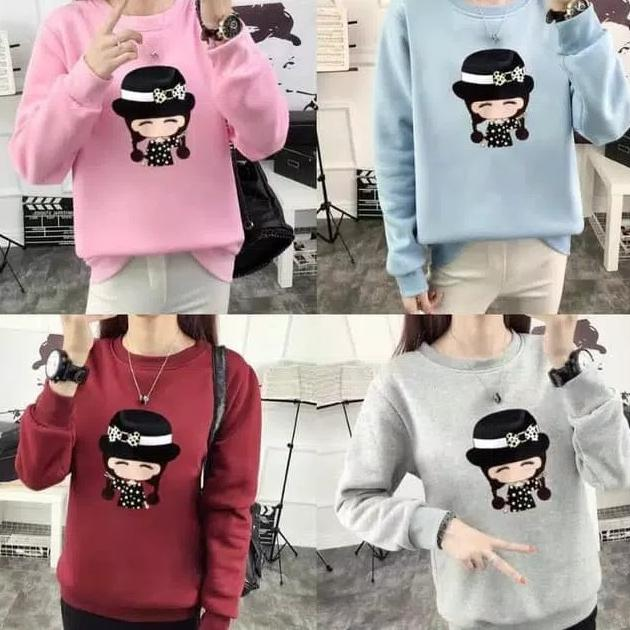 Clairestore1 Sweater Wanita Cute Mizzi - Pink (Promo Beli 2 Gratis 1)