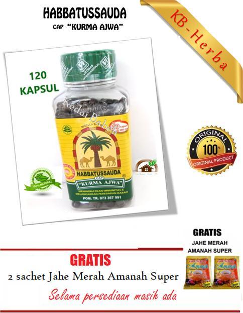 Habbatusauda Cap Kurma Ajwa - 120 Kapsul - 1 botol