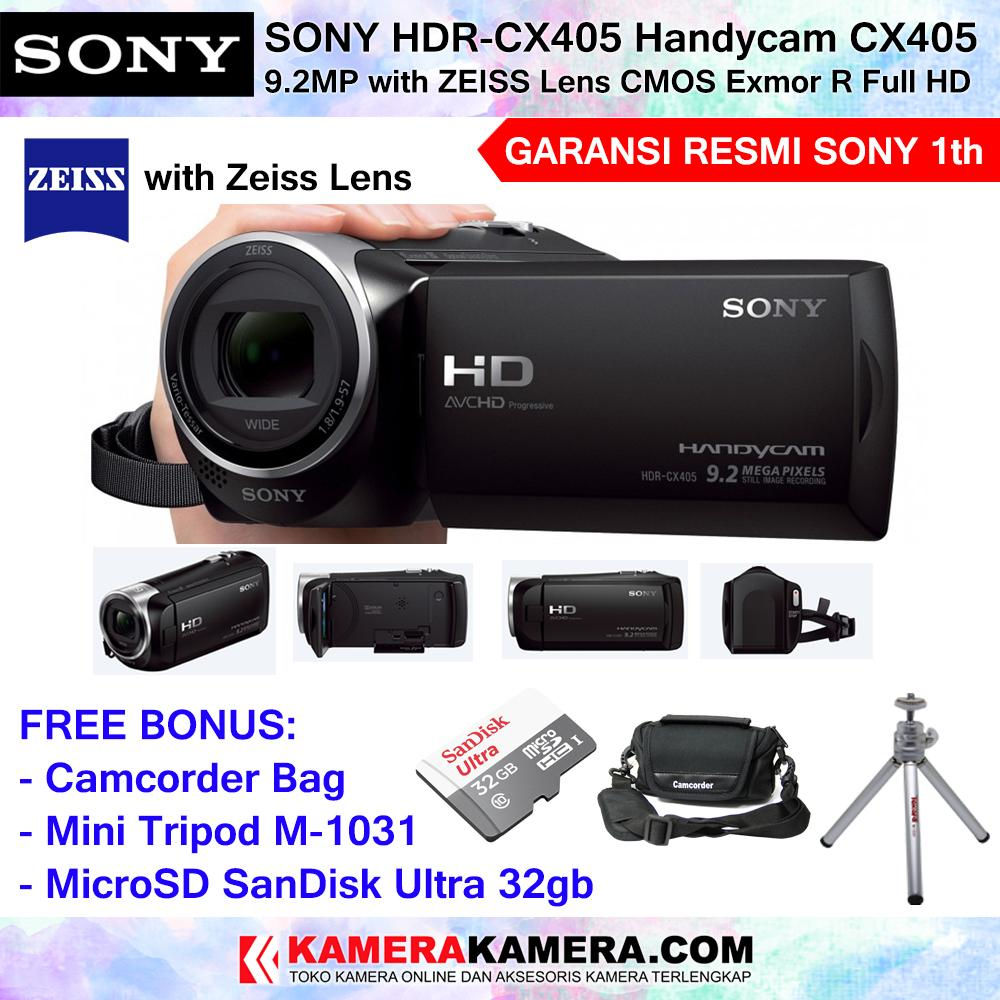 SONY Handycam HDR-CX405 with Zeiss Lens Sensor CMOS Exmor R Sony CX405 Camcorder (Garansi Resmi Sony Indonesia 1th) + MicroSD SanDisk Ultra 32gb + Camcorder Bag + Mini Tripod Takara M-1031