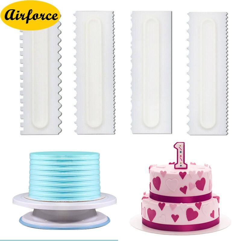 Airforce 4Pcs Cake Decor Spatulas Pastry Comb Scraper Smoother Decoration Baking Tool DIY