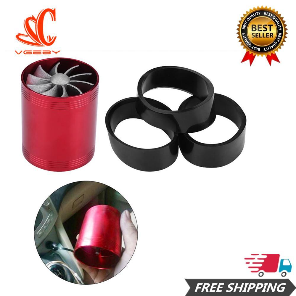 【flash Sale!!!】aluminium Mobil Udara Masuk Turbonator Dual Fan Turbin Super Charger Penghemat Bahan Bakar Gas Turbo Merah By Car-Mall.