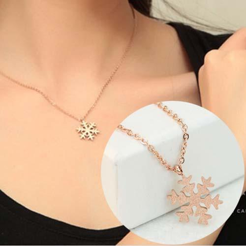 Kalung Korea Titanium Steel Rose Gold Plated 18k Snow Flake Necklaces Nov019 By Toko Susu