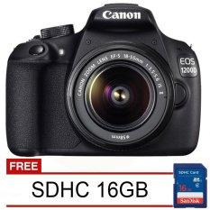 Canon EOS 1200D - Lensa Kit 18-55mm IS II - Hitam + Gratis SDHC 16GB