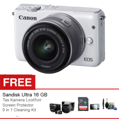 Canon EOS M10 Kit 15-45mm - 18MP - WIFI - Putih + Gratis Aksessories Kamera
