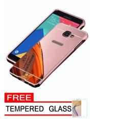 Case Metal for Samsung Galaxy J5 Prime Aluminium Bumper With Mirror Backdoor Slide - Rose Gold + Free Tempered Glass