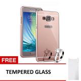 Obral Case Samsung Galaxy E5 Alumunium Bumper With Mirror Backdoor Slide Rose Gold Gratis Tempered Glass Murah