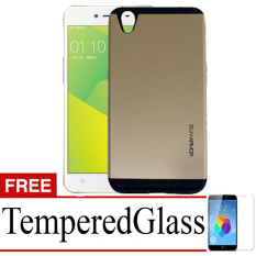 Case Slim Armor Hard Protective For Oppo Neo 9  + Tempered Glass- Gold