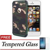 Model Case Slim Army Protection Hard Case For Iphone 5S Free Tempered Glass Green Army Terbaru