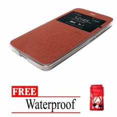 Casing Flip Cover Premium Leather Case for Xiaomi Redmi Note 4 - Coklat + Free Waterproof