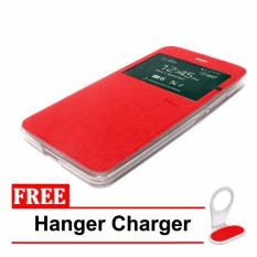 Casing Flip Cover Premium Leather Case  for Xiaomi Redmi Note 4 - Merah + Free Hanger Charger