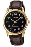 Ulasan Tentang Casio Analog Watch Jam Tangan Pria Cokelat Hitam Genuine Leather Band Mtp V001Gl 1Budf