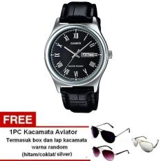 Spesifikasi Casio Analog Watch Jam Tangan Pria Hitam Genuine Leather Band Mtp V006L 1Budf Free Kacamata Aviator Termasuk Kotak Kacamata Dan Lap Kacamata Casio