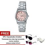 Casio Analog Watch Jam Tangan Wanita Silver Stainless Steel Ltp V006D 4Budf Free Kacamata Aviator Termasuk Kotak Kacamata Dan Lap Kacamata Murah
