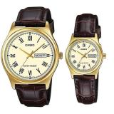 Toko Casio Couple Watch Jam Tangan Couple Cokelat Gold Strap Genuine Leather Band V006Gl 9Budf Di Banten