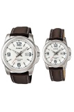 Toko Casio Couple Watch Jam Tangan Couple Cokelat Strap Leather 1314L Termurah Banten