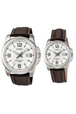 Spesifikasi Casio Couple Watch Jam Tangan Couple Cokelat Strap Leather 1314L Online
