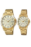 Casio Couple Watch Jam Tangan Couple Gold Strap Stainless Steel V004G 9Budf Casio Murah Di Banten
