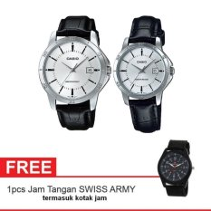 Toko Casio Couple Watch Jam Tangan Couple Hitam Silver Strap Genuine Leather V004L 7Audf Gratis Swiss Army Watch Warna Random Casio Online