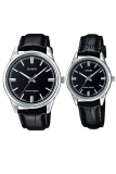 Spesifikasi Casio Couple Watch Jam Tangan Couple Hitam Silver Strap Genuine Leather V005L 1Audf Paling Bagus