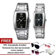 Casio Couple Watch Jam Tangan Couple - Silver - Strap Stainless Steel - 1165A + 1pc kacamata aviator dengan warna random termasuk kotak kacamata dan lap kacamata