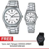 Jual Casio Couple Watch Jam Tangan Couple Silver Strap Stainless Steel V006D 7Budf Gratis Swiss Army Canvas Band Termasuk Kotak Jam Casio Online