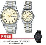 Promo Casio Couple Watch Jam Tangan Pasangan Silver Gold Strap Stainless Steel V006Sg 9Budf Gratis Swiss Army Canvas Band Termasuk Kotak Jam Di Indonesia