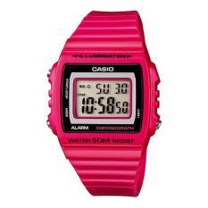 Casio Digital Jam Tangan Wanita - Merah Muda - Strap Karet - W-215H-4A