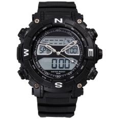 Jual Casual Pria Luar Ruangan Sport Watch Karet Tahan Air Digital Alarm Lcd Tanggal Jam Tangan Hitam Grosir