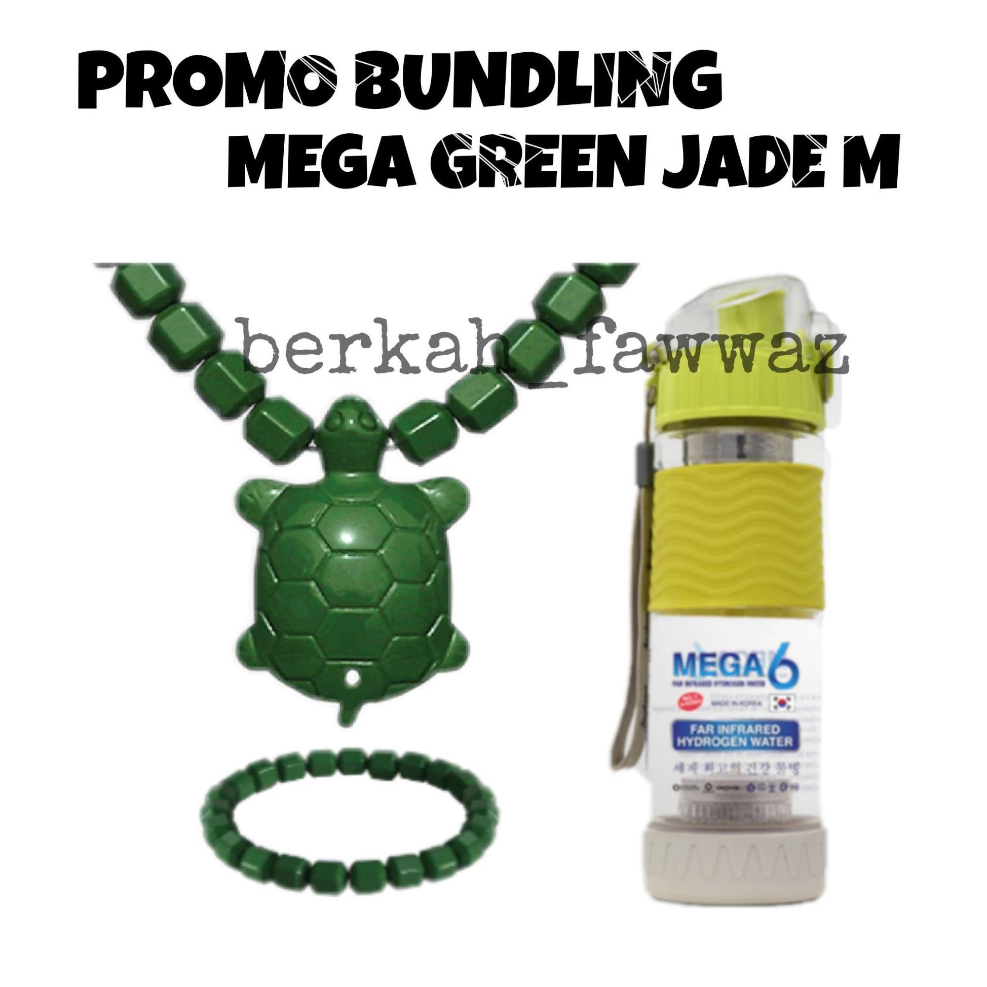 BOTOL MEGA 6 500 ML GRATIS KALUNG JISAMUNSE KURA HIJAU - MEGA6 JINSAMUNSE GREEN JADE