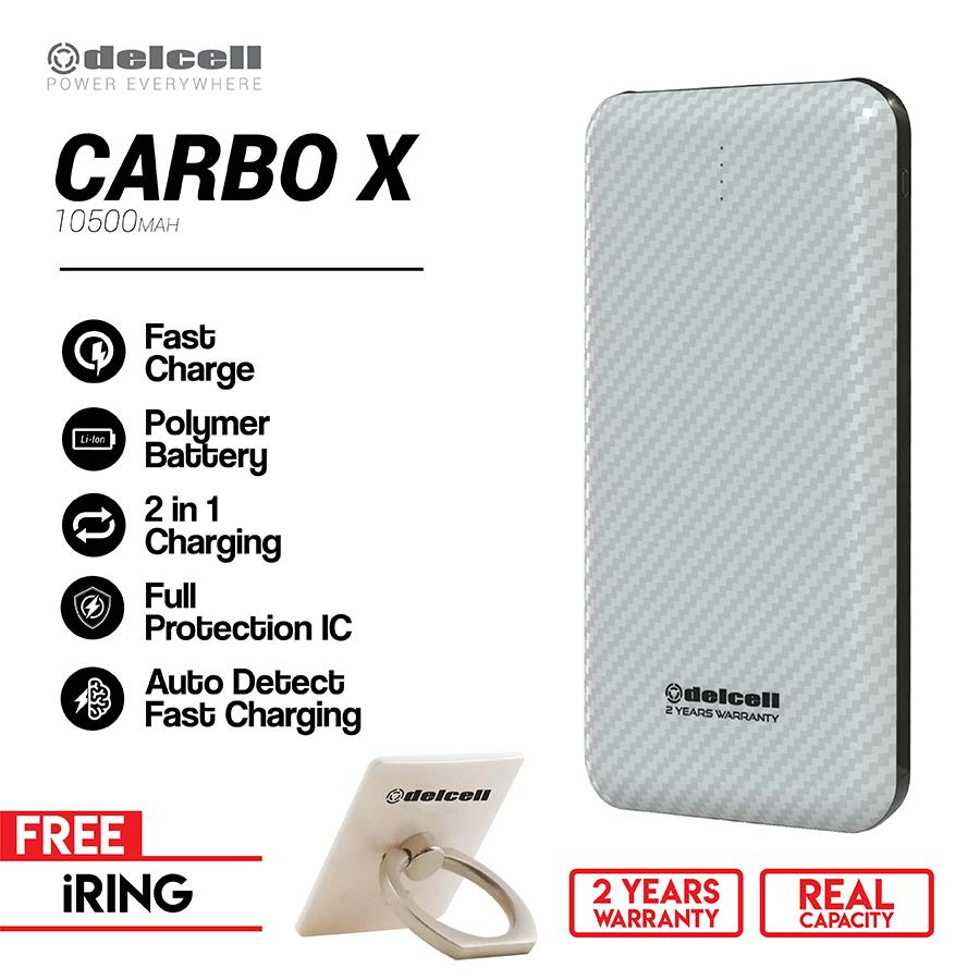 Delcell CARBO X Carbon Powerbank 10500mAh Real Capacity Fast Charging Polymer Battery Free iRing Stand Holder