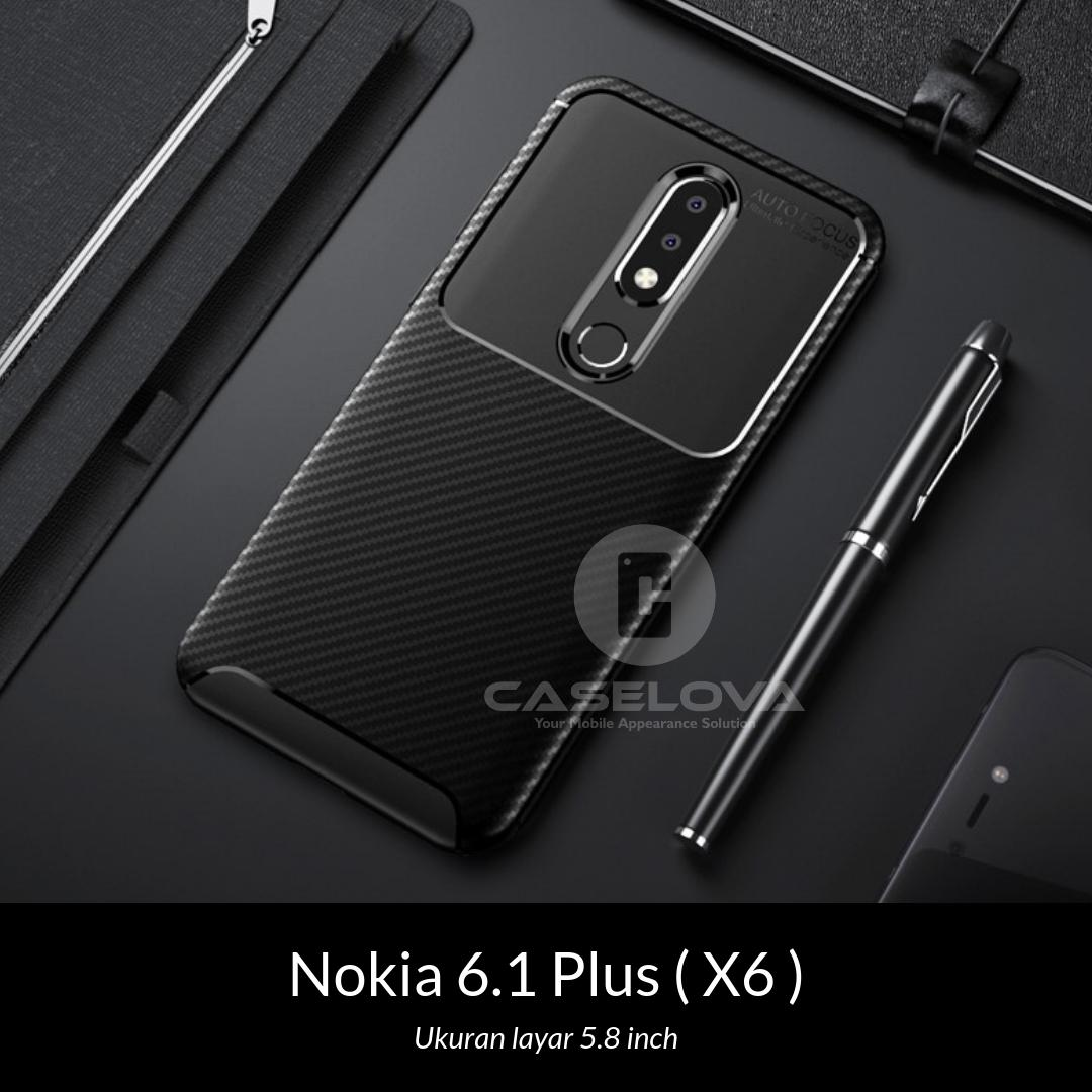 Caselova Case Nokia 6.1 Plus ( X6 ) Ukuran layar 5.8 inch Casing Synthetic fiber Silicone Protective Carbon - Black