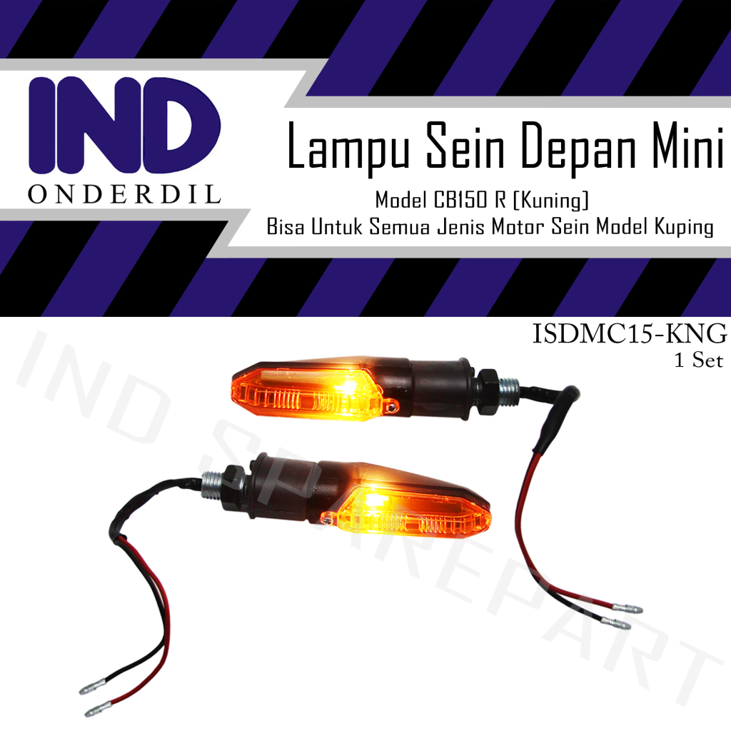 Lampu Sen Ritting-Riting-Retting-Reting Sign Depan-Belakang Mini Kuning Model CB 150 R-150R Universal Motor Sein Pisah X-Ride/Vario New/R15/R25/RX King/Vixion Old-New-NVA/CBR