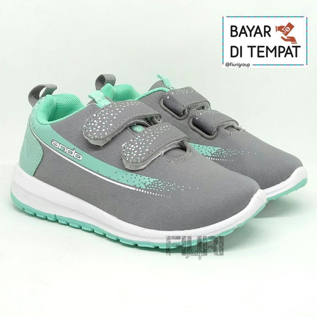 FIURI - Ando Original- Adelline Velcro Kids Grey Tosca - Sepatu Olahraga  Anak Perempuan - dcec9cd9c9