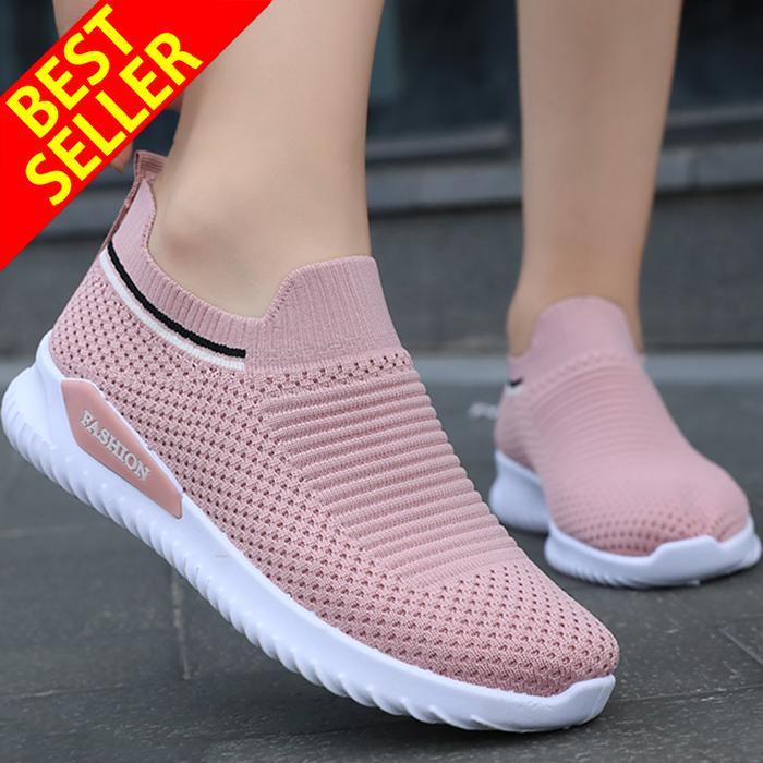 QINGSHUI Sepatu sneaker wanita,sepatu slip-on, sepatu lari wanita kaus kaki,sepatu yang nyaman