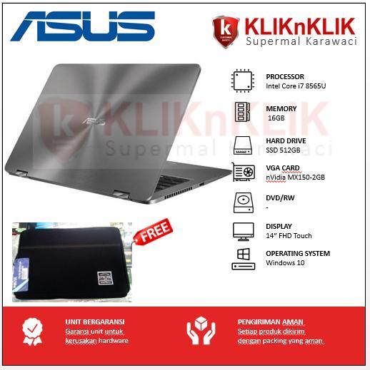 ASUS ZenBook Flip UX461FN-8565U-16GB-512GB-MX150-14 FHD-Win10 Dark Grey Hybrid X360