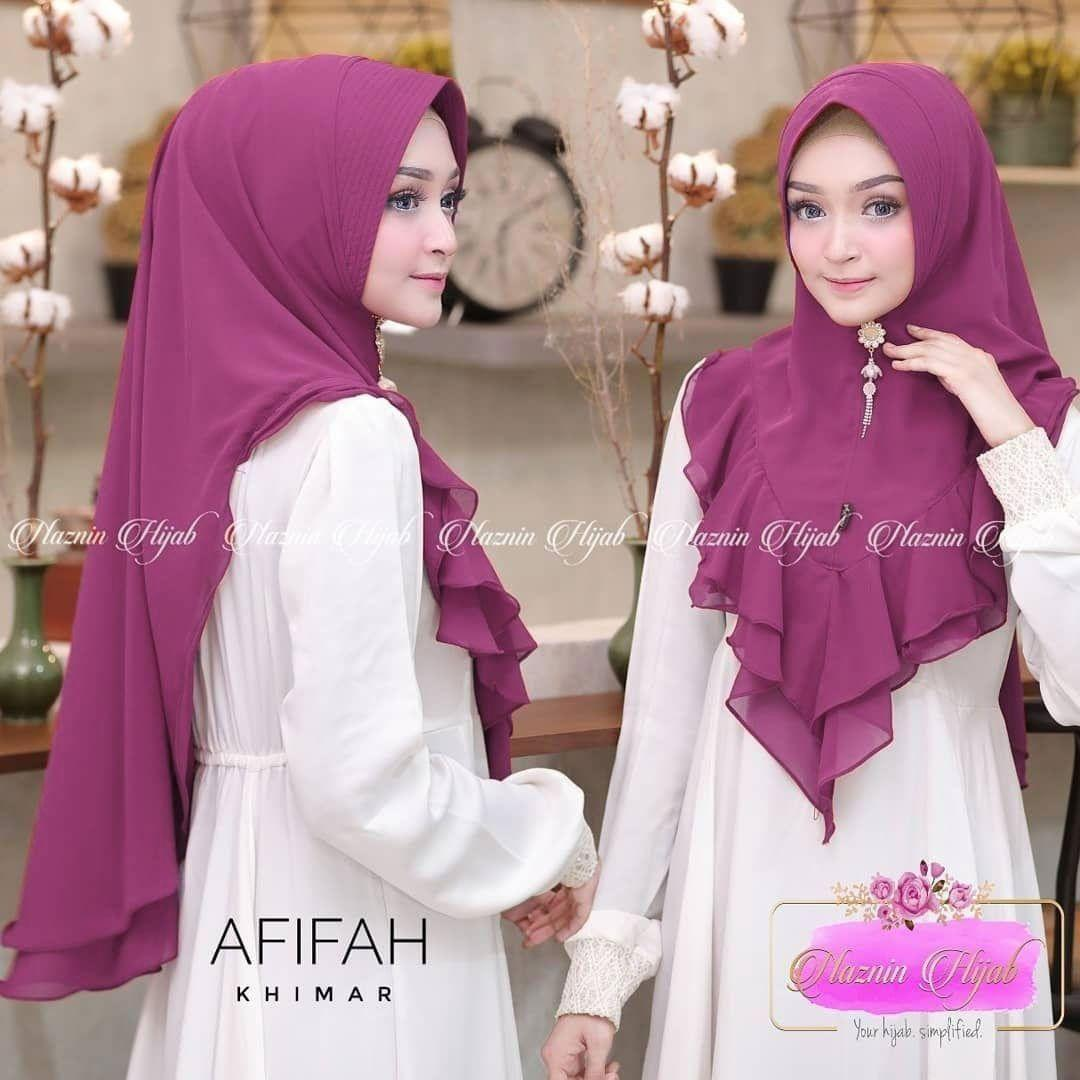 Jilbab Khimar Afifah Purple khimar oneto / hijab terbaru / muslim wanita / jilbab instan murah