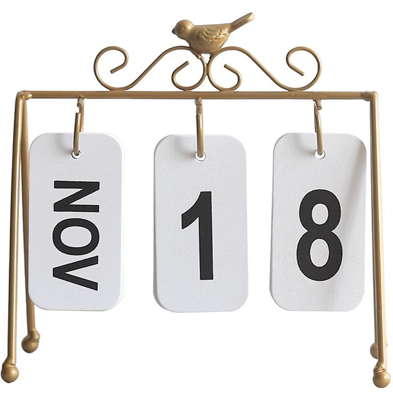 Personality Diy Bird Wrought Iron Flip Calendar Home Decoration Desk Decoration Calendar