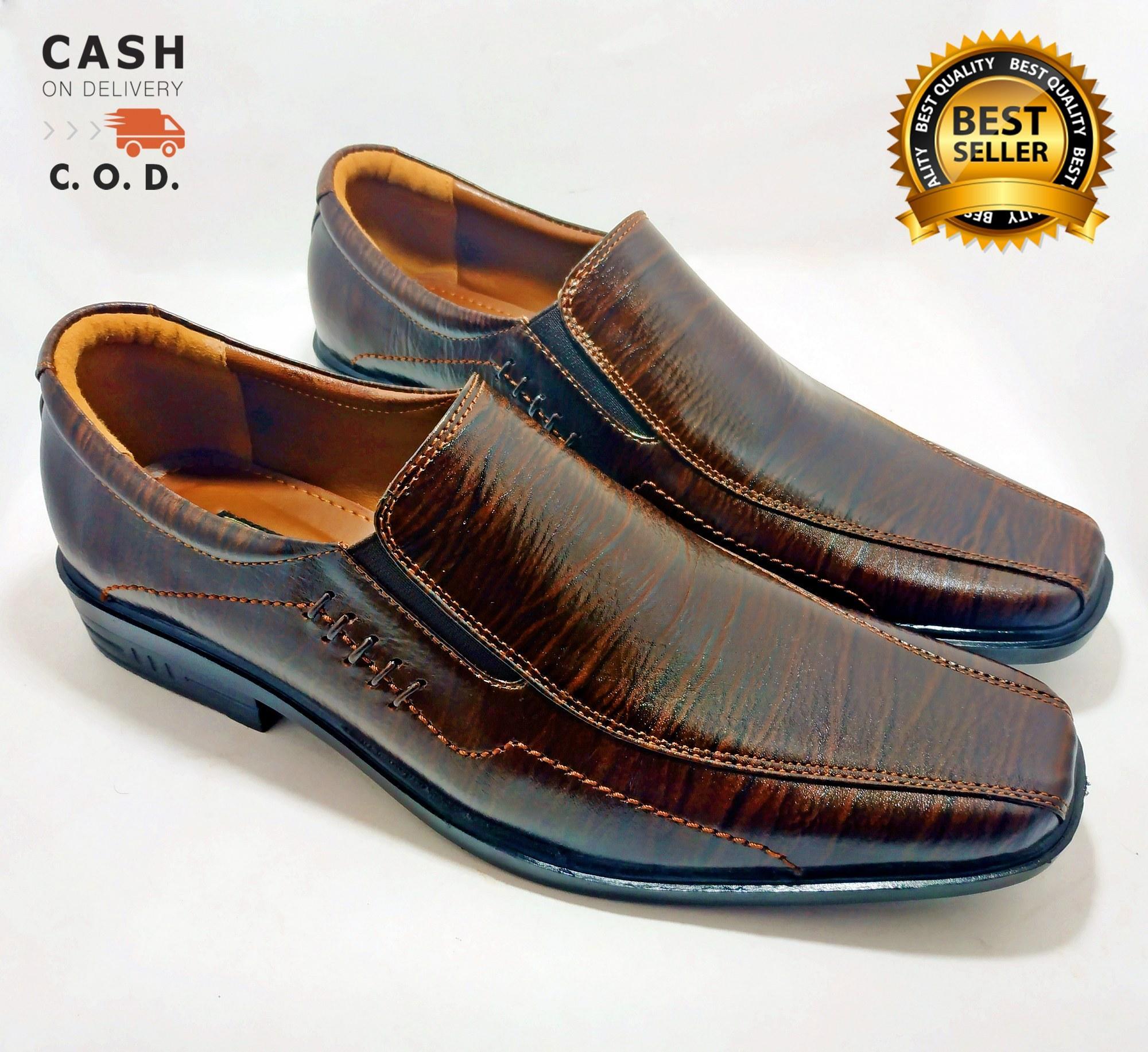 Sepatu Kantor Pria Kulit Asli 100% Bukan Sintetis Tekstur Serat Kayu  Pantofel Big Size Ukuran 97c11349fc