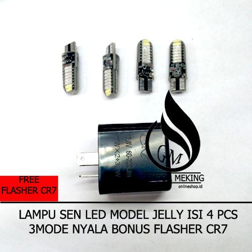4 Pcs Bonus Flasher Sen Lampu Sen Seint Kedip LED 8 Mata + Bonus Flasher Sen CR7 Universal