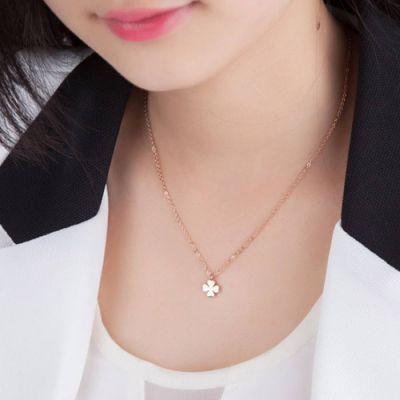 Necklace Rose Gold Flower Titanium Steel 18k Rose Gold / Kalung Titanium Wanita By Toko Susu.