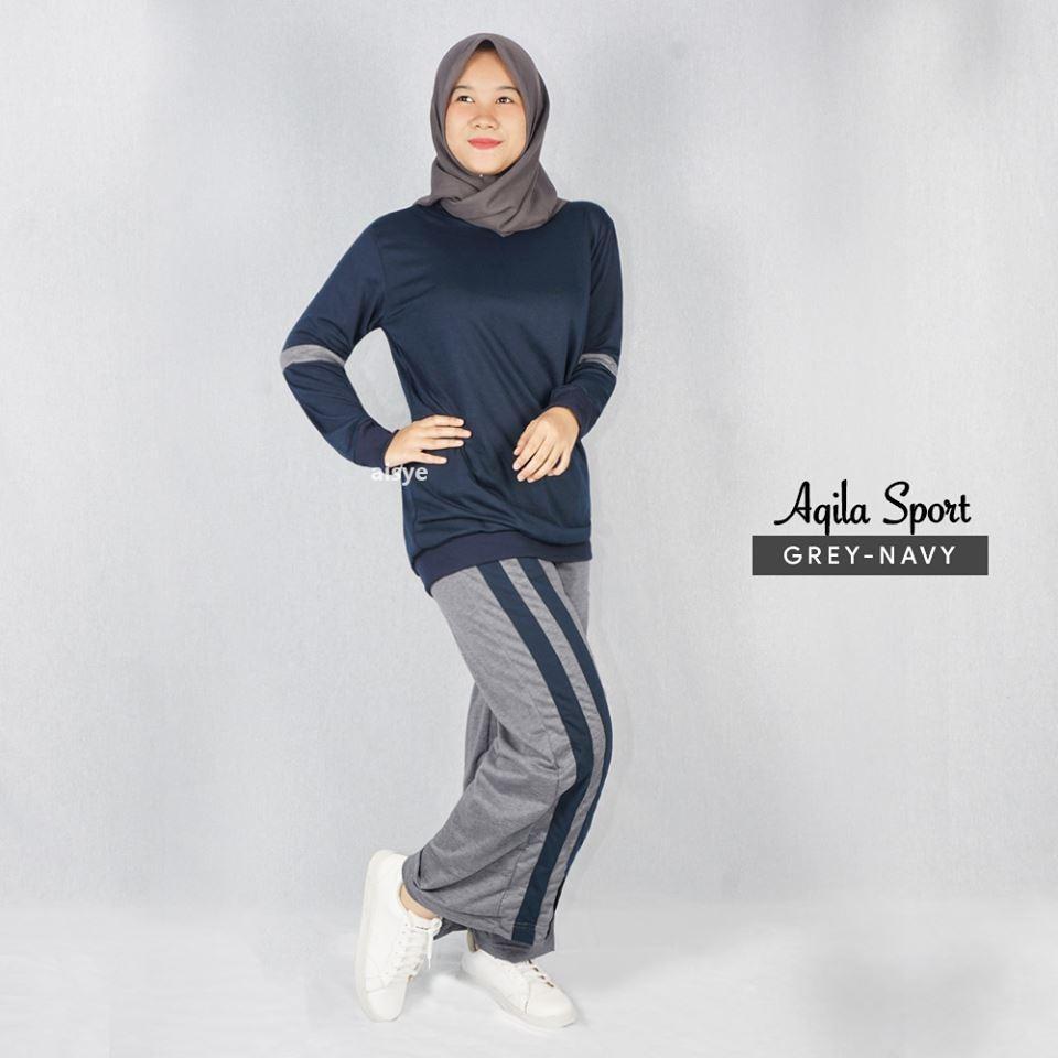 Baju Senam Wanita/ Baju Olahraga Muslimah/ Setelan Baju Senam Wanita/ Baju Senam Muslimah Aqila Grey Navy By Bajusenam.