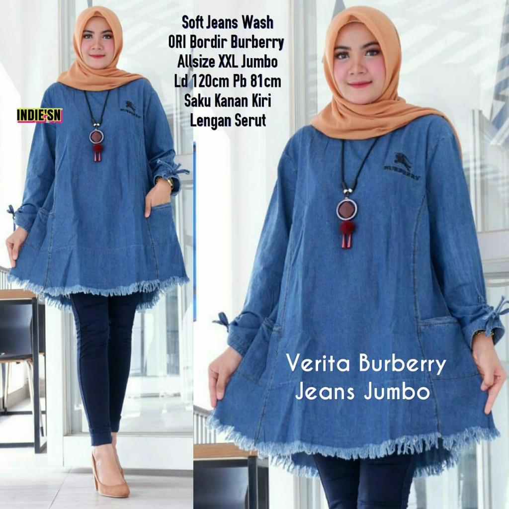 Verita Burbery Jeans Jumbo | Baju Atasan wanita Terbaru 2019 | Baju Tunik wanita Muslimah| Model Baju Tunik Untuk Wanita Gemuk |Baju Tunik Cantik | Tunik Batik Modern| Tunik Brokat Modern | Model Baju Tunik Terbaru 2019 | Model Batik Tunik Terbaru 2019